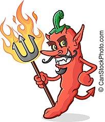 peper, duivel, chili, warme, spotprent