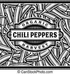 peper, etiket, black , retro, chili, oogsten, witte