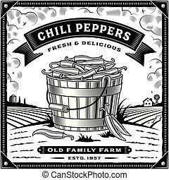 peper, etiket, black , retro, chili, oogsten, witte , landscape