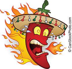 peper, karakter, hete chili, spotprent