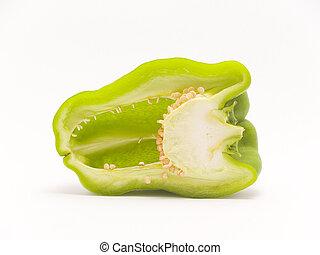 peper, knippen, groene, helft