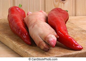 peper, maken, trotter, soep, pig\'s, rood