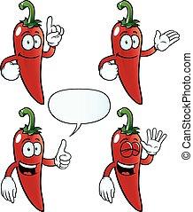 peper, set, chili, het glimlachen