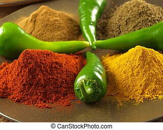 peper, turmeric, komijn, en, kaneel