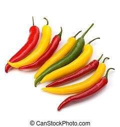peper, witte , chili, vrijstaand, achtergrond