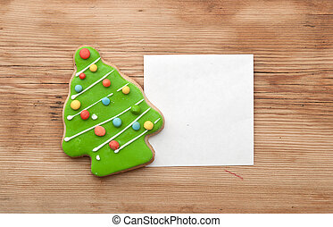 peperkoek, kerstboom, met, leeg, witte , papier, op, houten, back