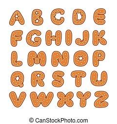 peperkoek, kerstmis, alfabet