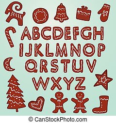 peperkoek, kerstmis, clipart, alfabet