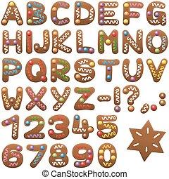 peperkoek, lettertype, brieven, alfabet