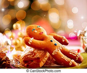 peperkoek, man., kerstmis vakantie, voedsel., kerstmis, tafel te zetten