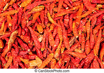 peperoncini rossi, struttura, caldo, secco, fondo, rosso