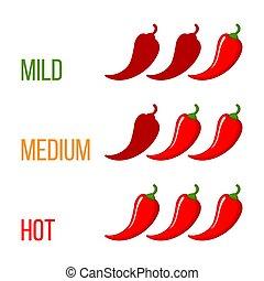 peperoncino, tre, scala, pepe rosso, forza