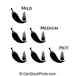 peperoni, chilli, vettore, nero