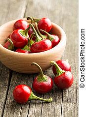 peperoni, peperoncino, bowl., rosso