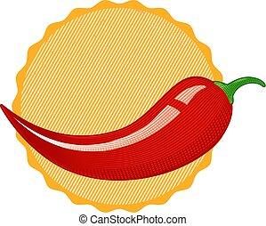 peperoni, vendemmia, vettore, chilli