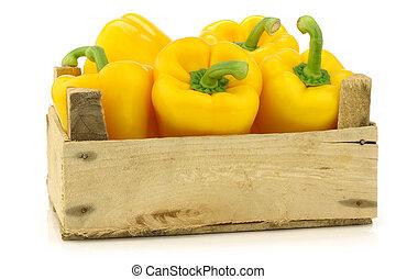 pepers, (capsicum), gele, klok