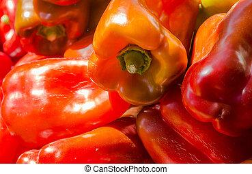 pepers, capsicum, rood, fris