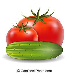 pepino, e, tomate