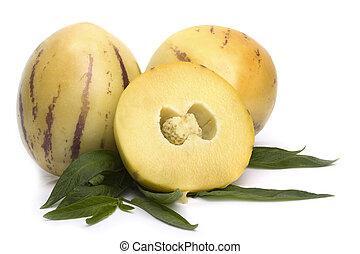 pepino, frukt, med, leavs, isolerat, vita
