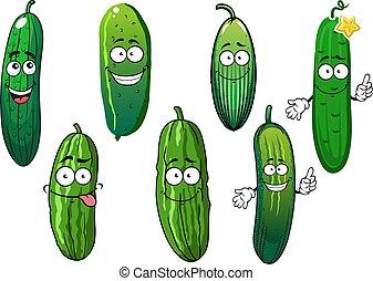 pepino, vegetales, caricatura, orgánico, maduro, verde