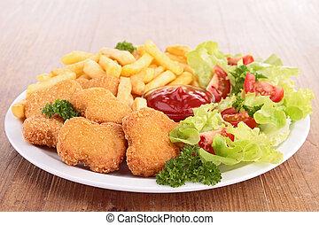 Pepitas, francés, pollo, fríe, ensalada