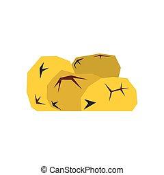 pepitas, oro, plano, icono