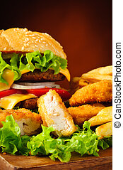 pepite pollo, hamburger, e, patatine fritte