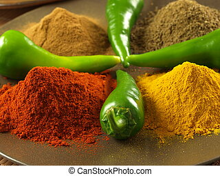peppar, turmeric, spiskummin, och, kanel