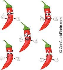 pepper character set. cartoon vector illustration