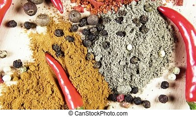 Pepper dry and fresh rotates top view - A mixture of red and...
