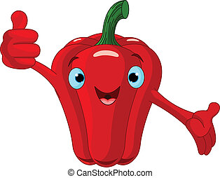 Pepper giving thumbs up - Illustration of a Pepper Character...