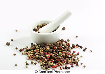 Pepper Grains - Close-up of pepper grains in four different...