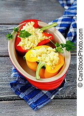 pepper halves with rice