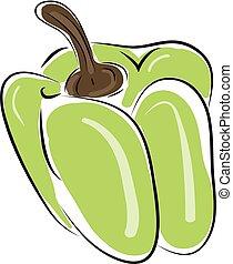Pepper hand drawn design, illustration, vector on white background.
