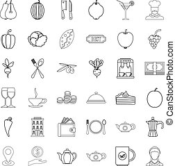 Pepper icons set, outline style