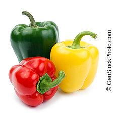 (pepper), kleur, vrijstaand, gele, paprika, groene...