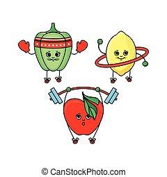 Pepper, lemon and apple characters doing sport