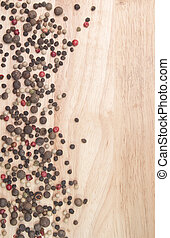 pepper on the background of wooden boards