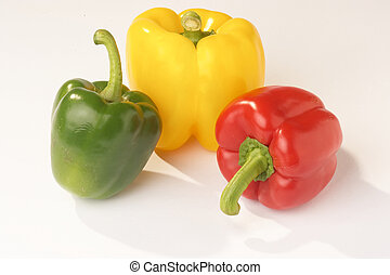 Pepper - Paprika - red, green and yellow Pepper on white...