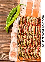 pepper., ratatouille, fotografie, op, gaar, groene,...