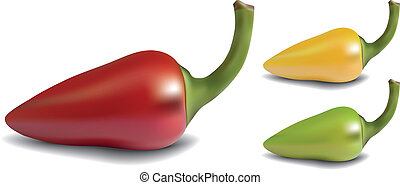 Pepper - Realistic red, yellow and green vector pepper on...