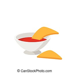 Pepper sauce with pita bread icon, cartoon style