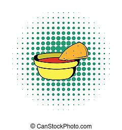 Pepper sauce with pita bread icon, comics style