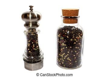 Pepper Shaker - Isolated pepper shaker with spare pepper in ...