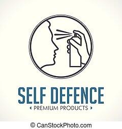 Pepper spray - self defence concept logo
