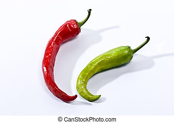 pepper - Green and red pepper on the white background