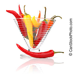 pepper vegetable fruits in glass vase isolated