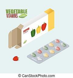 Pepper vitamins. Vegetarian pills. Tablets in pack. Natural products for health in form of bell pepper.  medicament vegetable. Medical drugs.