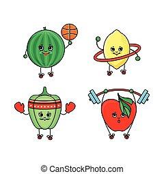Pepper, watermelon, lemon and apple doing sport