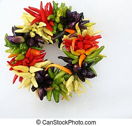 Pepper Wreath - Nice wreath made from various small peppers.